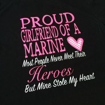 Proud Girlfriend of a Marine Shirt, Marine Girlfriend Shirt, Military Girlfriend Shirt, USMC Shirt