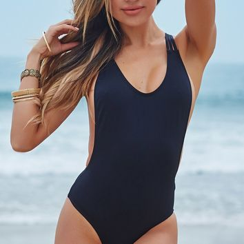Acacia Black Strappy Crisscross Back Sexy High Cut One Piece Swimsuit
