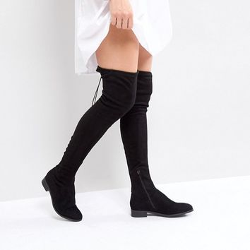 ASOS KEEP UP TALL Flat Over The Knee Boots at asos.com