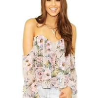 West Coast Wardrobe Painted Petals Floral Tube Top in Floral Multi
