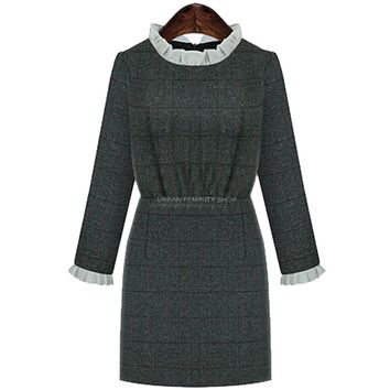 Ruffled Long-Sleeve A-Line Dress