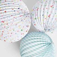 Stripes + Charms Paper Globe Lantern Set