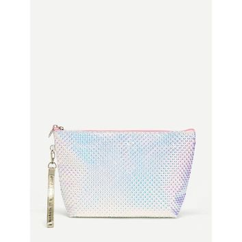 Iridescent Geometric Pattern Makeup Bag