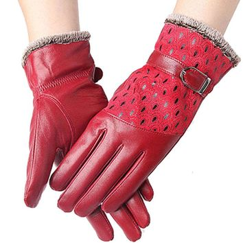 CR New Women's Winter Gloves Genuine Leather Fashion Warm Thicken Dot Pattern Peacock Gloves High quality Mittens 6 Color  AT032