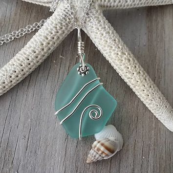 """Handmade in Hawaii, wire wrapped """"March Birthstone"""" aqua sea glass necklace jewelry,20 inch 925 sterling silver chain, Beach glass jewelry."""