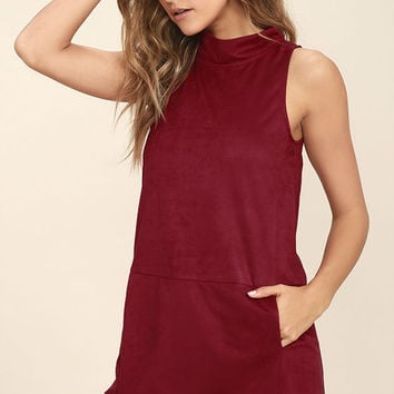 We Are Who We Are Wine Red Suede Dress