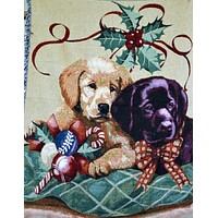 Tache 50 x 60 Puppy's First Christmas Tapestry Throw Blanket
