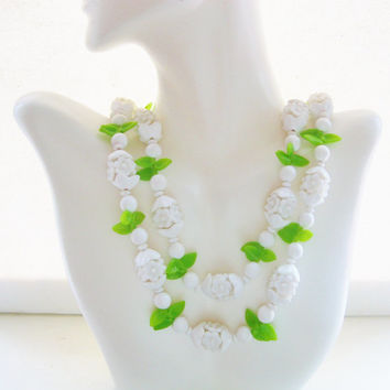 Vintage Plastic Beaded White Flower Necklace Single or Double Strand Necklace Vintage Costume Jewelry