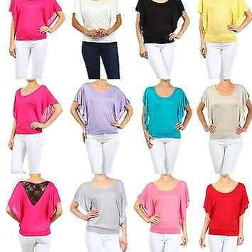 Women Jersey Knit Round Neck Flutter Sleeve Shirt Top Loose Fit Lace Back Panel