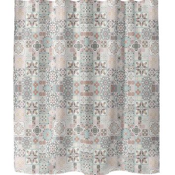 MOROCCAN TILES WITH ROSE GOLD Shower Curtain By Pip & Lulu