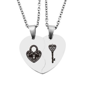 LASPERAL 2PCs Half Heart Pendant Necklace Carved Key Lock Fashion Stainless Steel Love Necklaces Jewelry Valentines Day Gifts