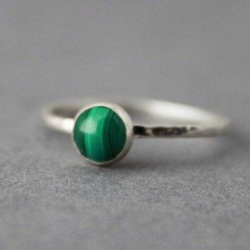 Handmade Sterling and Malachite Ring Tranquil by tladesigns