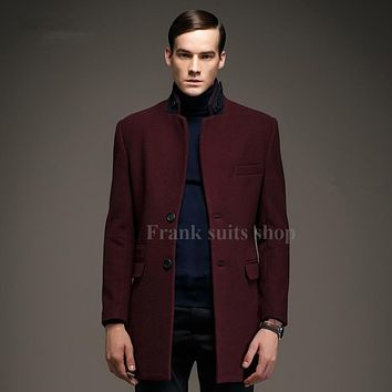Custom made High Quality 2017 New Arrival Men Woolen Coat Spell Color Collar Long Section Wool Outerwear