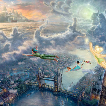 Disney Oil Paintings Thomas Kinkade Tinkerbell and Peter Pan fly to Neverland Giclee Art Print On Canvas 24x36 inch no frame
