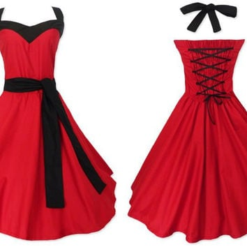 Bride Dress 2016 Short Design Lace Up Backless Prom Red Wedding Party Goth Punk Dresses Revival 50s US Plus Sizes 6xl