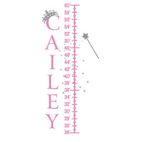 Princess Growth Chart - Personalized Vinyl Name Wall Decal With Tiara Crown For Girl Baby Nursery Or Playroom Wall Art 37H x 16W GC002
