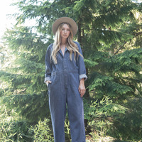 70s Denim Coveralls Jumpsuit, Utility Coveralls, Intalco Aluminum Vintage Overalls Work wear, Mechanic Work Coveralls, Grunge Denim Jumpsuit