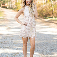 Hanging Sequin Embellished High Neck Dress Beige