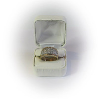 Gold Plated Sterling Silver Round Cut CZ Diamond Simulant Cluster Wedding Band