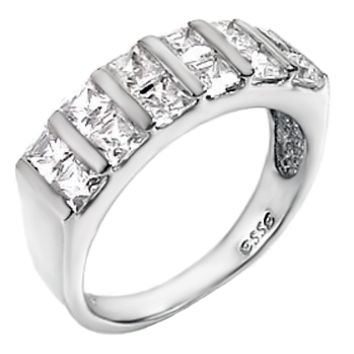 Sterling Silver Princess Cut CZ Double Row Bar Set Wedding Band Size 5- 9