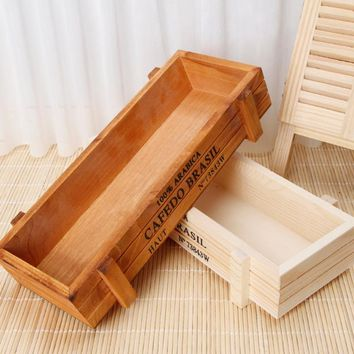 Vintage Wood Garden Flower Planter Succulent Pot Rectangle Trough Box Plant Bed