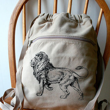 Lion Backpack Canvas Screen Printed