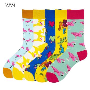 VPM Men's Causal Socks Combed Cotton Colorful Funny Happy Rabbit Flamingos Pattern Socks Wedding Gift Socks 5 Paris Pack