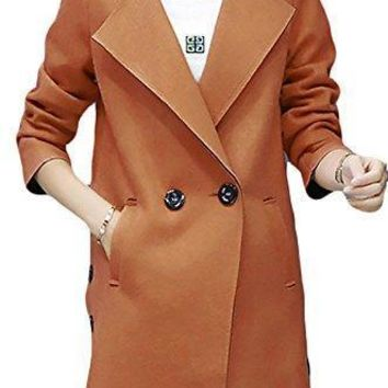 Pandapang Womens Classic Fit Two Button Wool Blend Trench Coat Outwear