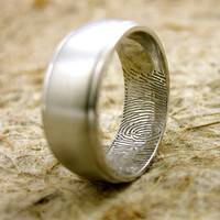 Custom Designed Double Finger or Thumb Print Wedding Ring in 14K White Gold with Matte Finish and Glossy Edges Size 9/8mm