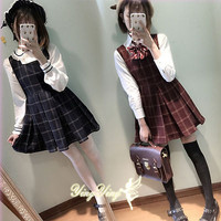 Japanese Harajuku Lolita Sweet plaids Vintage Sleeveless Dress preppy style