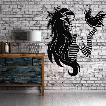 Emo Alternative Girl And Bird Teen Decor Wall MURAL Vinyl Art Stickers Unique Gift z841