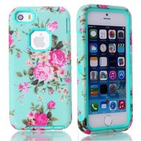 MagicSky Plastic + TPU Roses Flower Pattern Tuff Dual Layer Hybrid Armor Case for Apple iPhone 5C - 1 Pack - Retail Packaging - Cyan