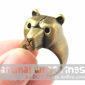3D Adjustable Polar Bear Animal Wrap Around Hug Ring in Brass | Animal Jewelry
