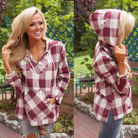 2016 Pullover Plaid Split Cloak Coat Outerwear Jacket Casual Party Playsuit Clubwear Bodycon Boho Top Shirt T-Shirt Casual Simple Pullover Hoodie Sweatshirt Blouse Shirt  _ 9120