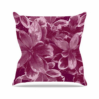 "Julia Grifol ""Warm Leaves"" Red Digital Outdoor Throw Pillow"