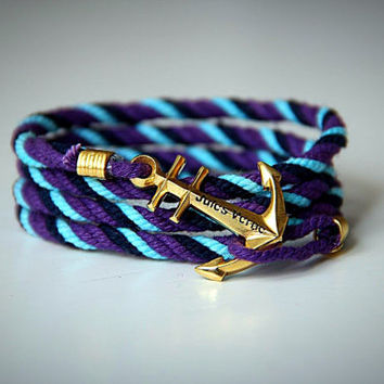 Purple Blue Azure cotton  bracelet with anchor.