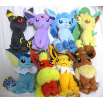 Pokemon 2012 Eevee Espeon Flareon Glaceon Jolteon Leafeon Umbreon Vaporeon Set of 8 Takara Tomy Plush Toys
