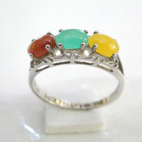 Vintage Avon Ring Sterling Jade 1970 Mod Colors 925 Band, Size 8
