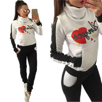 women leisure sports suit high collar