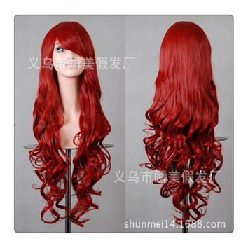Women New Fashion Women Girl 80cm Wavy Curly Long Hair Full Cosplay Party Sexy Lolita wig  bright red