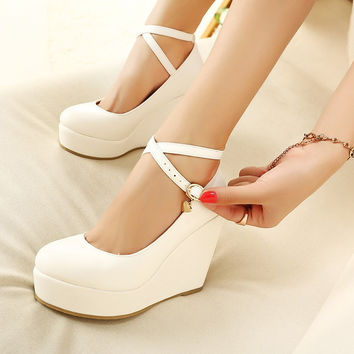 White Wedges Shoes Pumps For Women Wedges High Heels Wedges Pumps White High Heels Shoes Platform Wedges Heels
