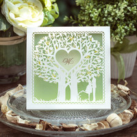 Laser Cut Wedding Invitations Cards Light Green Love Tree 50PCS