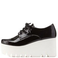Black Qupid Lug Flatform Oxfords by Qupid at Charlotte Russe