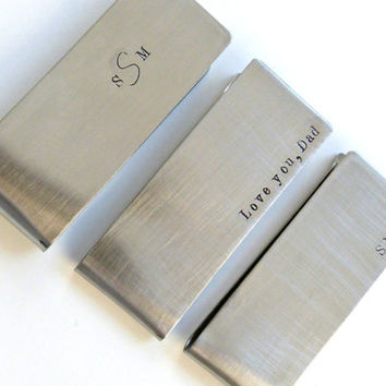 Personalized Money Clip Groomsmen Gift Father of the Bride Gift Fathers Day Gift Monogram Money Clip Stainless Steel