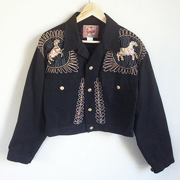 80s Embroidered Jacket -- Beaded Western Coat -- Black & Gold -- Horses -- Vintage Southwestern Jacket -- Womens Medium