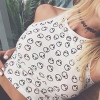 alien crop top tank - brandy melville/pac sun - tumblr