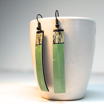 Lightweight Polymer Clay Dangle Earrings - Pearl Green and Black- One Of A Kind Organic Jewelry - Gift For Her