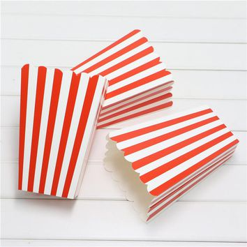 Set 1Bag 12pcs popcorn Boxes/Buckets/Bags red StripesParty/Food/Retro/Hollywood/Movie/TreatBirthday Party Favour Paper Bags