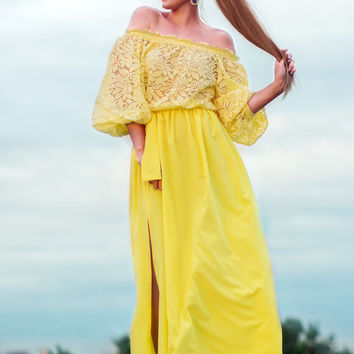 Yellow summer Dress, maxi off shoulder dress plus size, casual summer dress, lace summer long dress, short sleeve Yellow dress, summer 2016