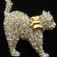 Carolee Cat Brooch Pin Clear Ice Pave Set Rhinestones Gold Metal Signed Vintage